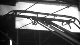 Side view original image of a pantograph with notch damage