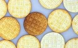 Biscuits with different bake colours